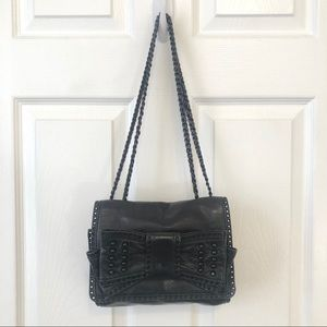 Leather bag with bow + hardware!